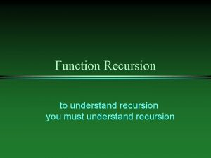 Function Recursion to understand recursion you must understand