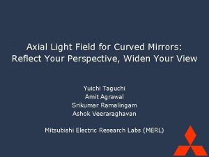 Mitsubishi Electric Research Labs MERL Axial Light Field