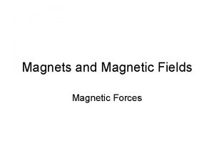 Magnets and Magnetic Fields Magnetic Forces Magnetic Forces
