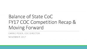 Balance of State Co C FY 17 COC