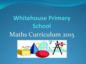 Whitehouse Primary School Maths Curriculum 2015 Maths Data