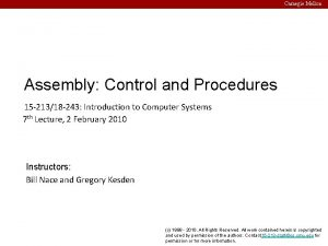 Carnegie Mellon Assembly Control and Procedures 15 21318
