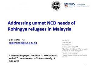 Addressing unmet NCD needs of Rohingya refugees in