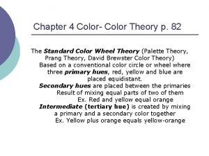 Chapter 4 Color Color Theory p 82 The