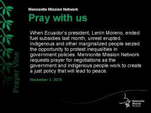 Mennonite Mission Network Prayer Vine Pray with us