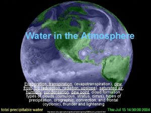 Water in the Atmosphere Evaporation transpiration evapotranspiration dew