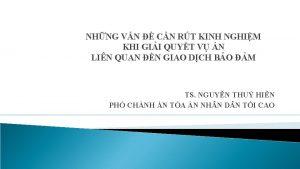 NHNG VN CN RT KINH NGHIM KHI GII