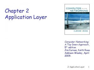 Chapter 2 Application Layer Computer Networking A Top
