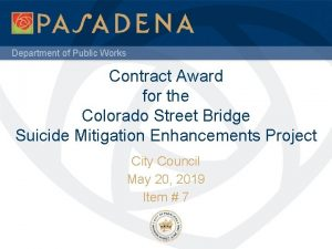 Department of Public Works Contract Award for the