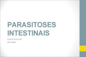 PARASITOSES INTESTINAIS Isabella Antoniali Las Faeda ASCARIDASE ETIOLOGIA