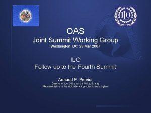 OAS Joint Summit Working Group Washington DC 29
