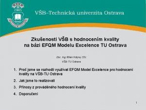 Zkuenosti VB s hodnocenm kvality na bzi EFQM