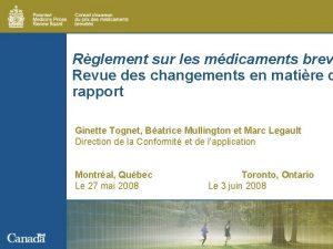 Rglement sur les mdicaments brev Revue des changements