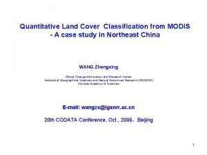 Quantitative Land Cover Classification from MODIS A case