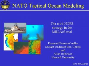 NATO Tactical Ocean Modeling The miniHOPS strategy in
