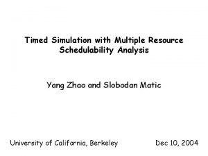Timed Simulation with Multiple Resource Schedulability Analysis Yang
