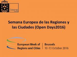 Semana Europea de las Regiones y las Ciudades