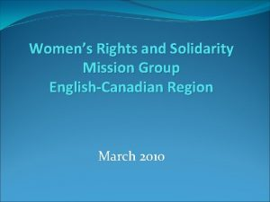 Womens Rights and Solidarity Mission Group EnglishCanadian Region