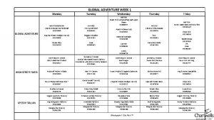 GLOBAL ADVENTURE WEEK 1 Monday GLOBAL ADVENTURE MEDITERRANEAN