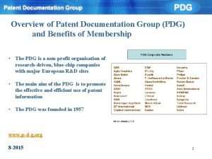 Overview of Patent Documentation Group PDG and Benefits
