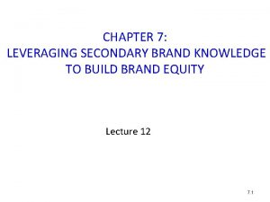 CHAPTER 7 LEVERAGING SECONDARY BRAND KNOWLEDGE TO BUILD