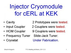 Injector Cryomodule for c ERL at KEK Cavity