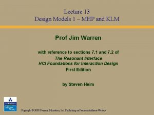 Lecture 13 Design Models 1 MHP and KLM
