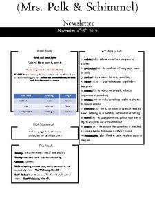 Mrs Polk Schimmel Newsletter November 4 th8 th