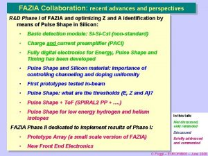 FAZIA Collaboration recent advances and perspectives RD Phase