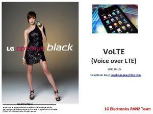 Vo LTE Voice over LTE 2011 07 15