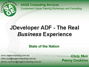 SAGE Computing Services Customised Oracle Training Workshops and