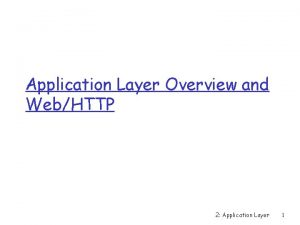 Application Layer Overview and WebHTTP 2 Application Layer