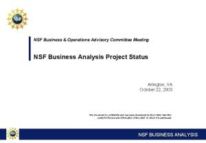 NSF Business Operations Advisory Committee Meeting NSF Business