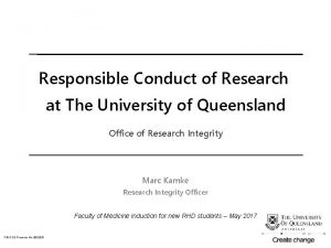 Responsible Conduct of Research at The University of