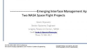 Emerging Interface Management App Two NASA Space Flight
