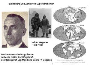 Entstehung und Zerfall von Superkontinenten Alfred Wegener 1880