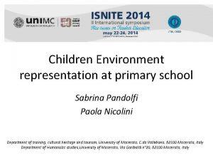 Children Environment representation at primary school Sabrina Pandolfi