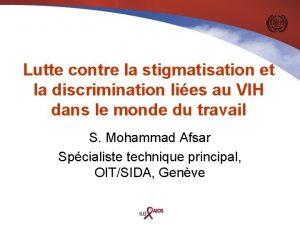 Lutte contre la stigmatisation et la discrimination lies