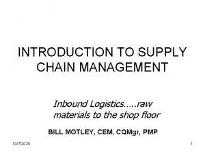INTRODUCTION TO SUPPLY CHAIN MANAGEMENT Inbound Logistics raw