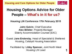 Housing and Care Options for Older People Housing
