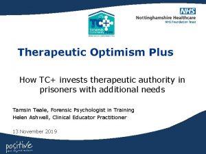 Therapeutic Optimism Plus How TC invests therapeutic authority