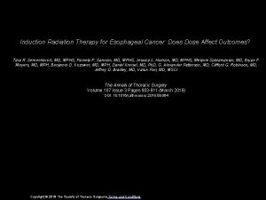 Induction Radiation Therapy for Esophageal Cancer Does Dose
