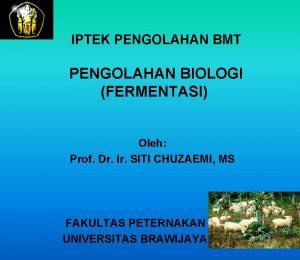 IPTEK PENGOLAHAN BMT PENGOLAHAN BIOLOGI FERMENTASI Oleh Prof
