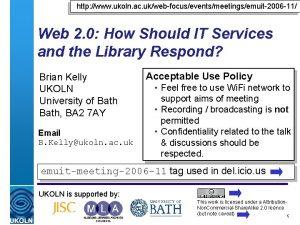 http www ukoln ac ukwebfocuseventsmeetingsemuit2006 11 Web 2