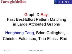 LLNL Graph XRay Fast BestEffort Pattern Matching in