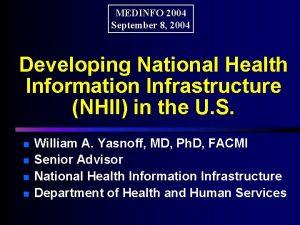 MEDINFO 2004 September 8 2004 Developing National Health