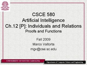 CSCE 580 Artificial Intelligence Ch 12 P Individuals