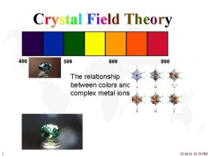 Crystal Field Theory 400 500 600 800 The
