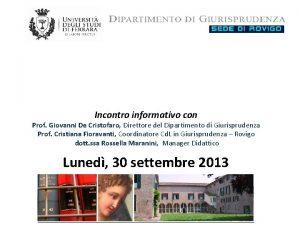 Incontro informativo con Prof Giovanni De Cristofaro Direttore
