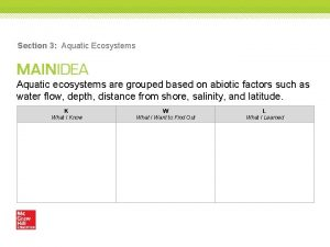 Section 3 Aquatic Ecosystems Aquatic ecosystems are grouped